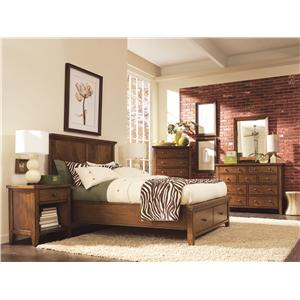 Aspenhome Cross Country Queen-Size Platform Bed with Sleigh Headboard & Storage Footboard