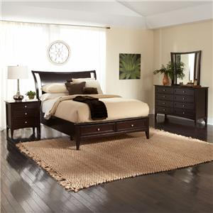 Aspenhome Kensington  California King-Size Platform Bed with Sleigh Headboard & Storage Footboard