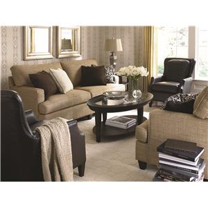 Bassett Custom Upholstery - Townhouse <b>Customizable</b> Queen Sleeper with Sock Arms and Tapered Feet