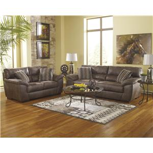 Benchcraft Pikara - Gunsmoke Stationary Living Room Group