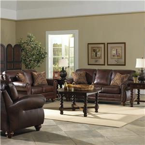 Best Home Furnishings Osmond Stationary Leather Sofa With Nailhead Trim