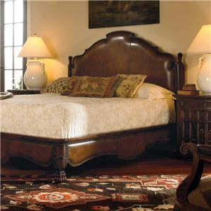 Century Marbella 661 California King Size Bergantin Mahogany and Leather Bed