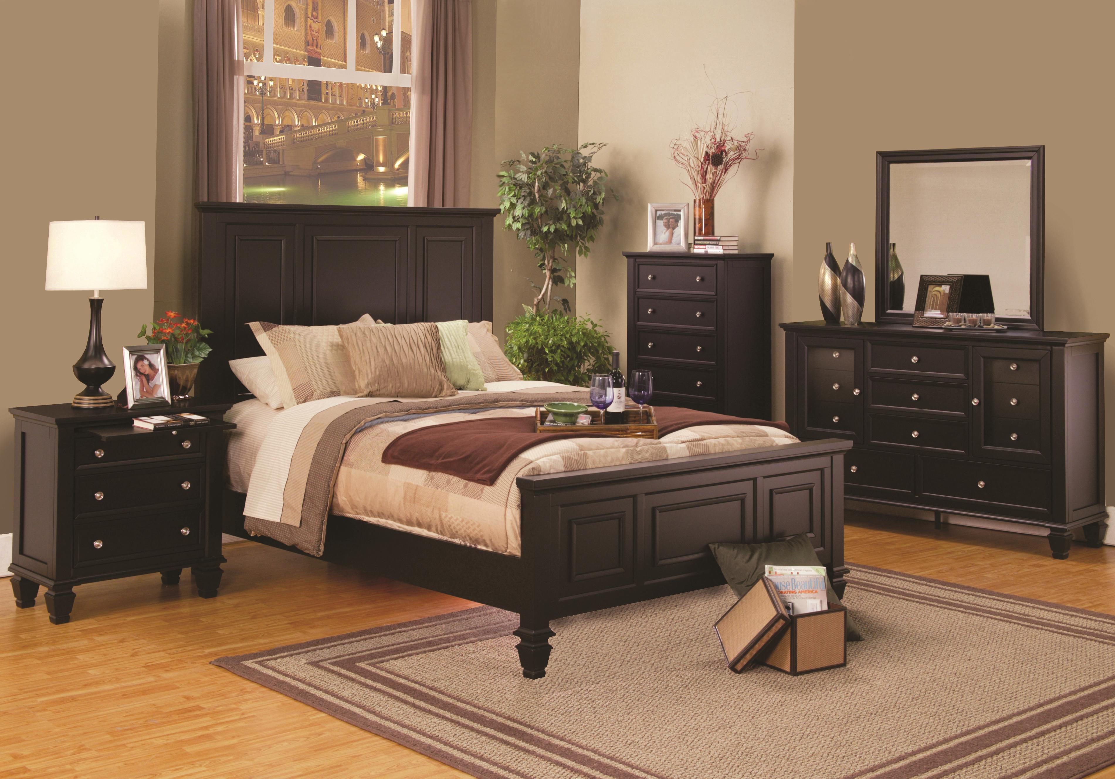 King size cappuccino wood panel bed bedroom furniture 4pcs - King size bedroom set with mattress ...