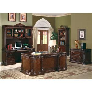 Coaster Union Hill Computer Desk & Hutch with Detailed Carvings