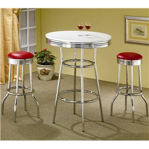 Coaster Cleveland Chrome Plated Bar Stool with Upholstered Seat