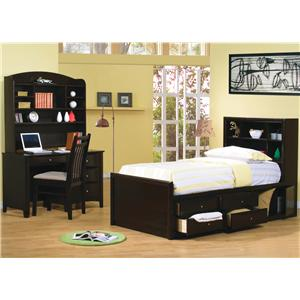 Coaster Phoenix Contemporary Queen Bookcase Bed with Underbed Storage Drawers