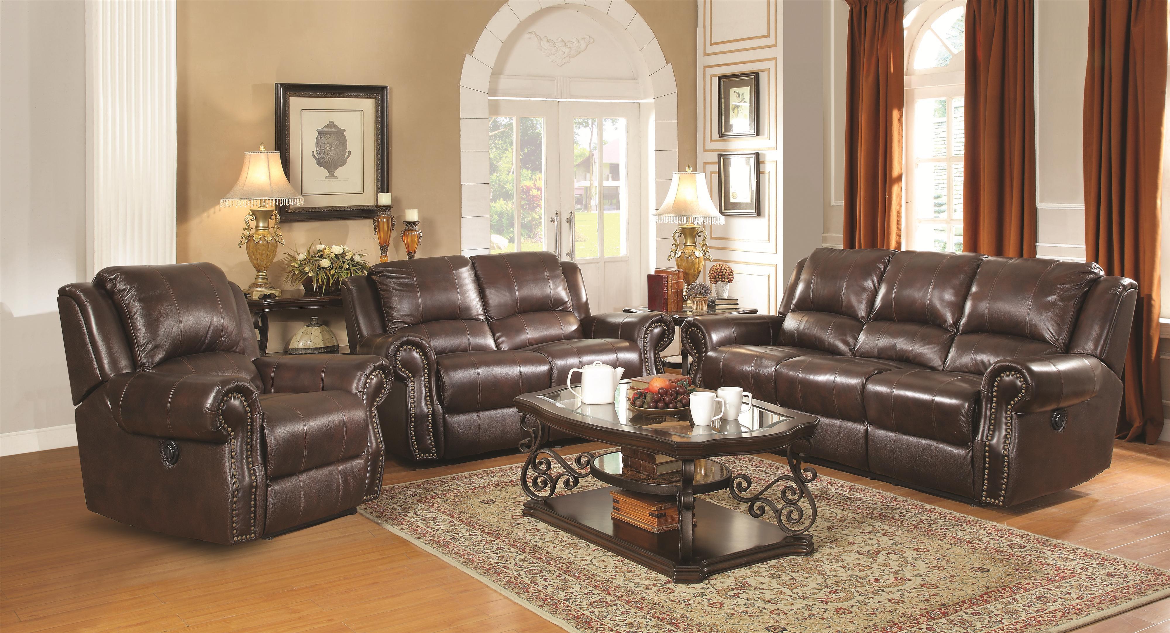 Coaster Sir Rawlinson Traditional Reclining Sofa With Nailhead Studs    Charleston Furniture   Reclining Sofa