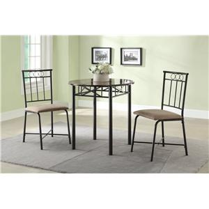 Coaster Slater 3-Piece Faux Marble Top Table and Side Chair Dining Set