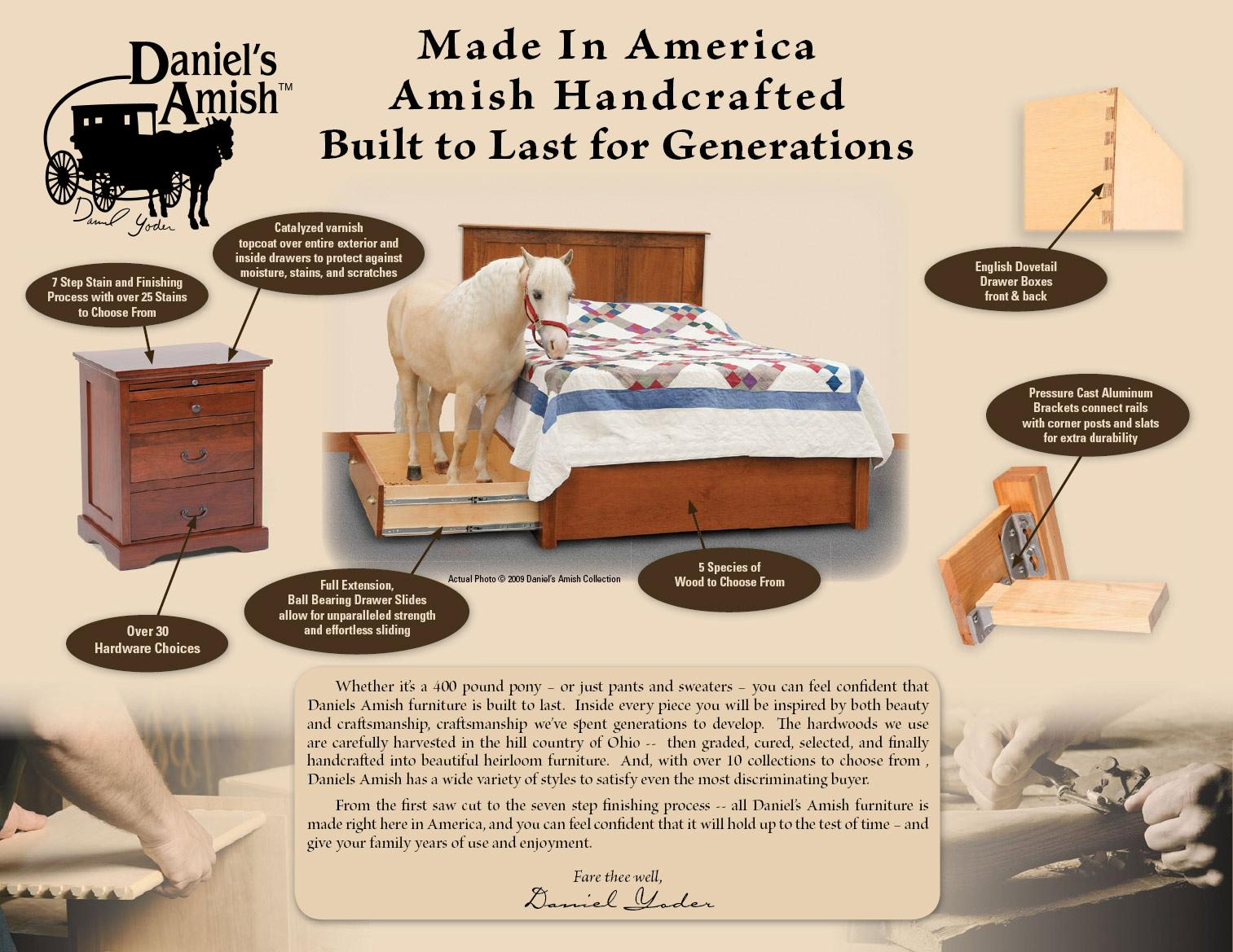 50553fa78d79 Queen Frame Bed with 2 Footboard Drawers by Daniel's Amish | Wolf ...