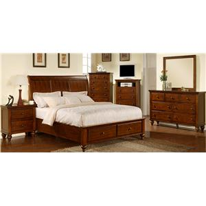 Elements International Chatham Queen Sleigh Bed with Storage