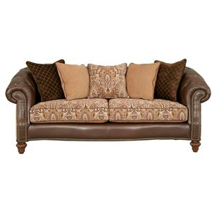 Fairmont Designs Estates II Plush Caramel Loveseat Chair with Exposed Wood Feet
