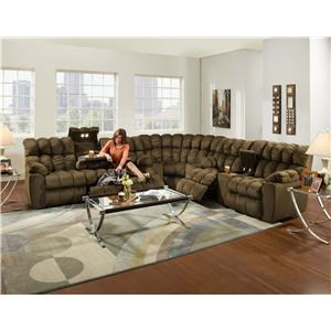 Franklin Brayden Casual Styled Reclining Sofa with Table, Lights And Storage Drawer