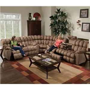 Franklin 542 Sectional with Reclining Sofa, Reclining Loveseat, Wedge, and Built-in Tables