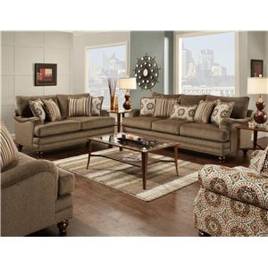 Fusion Furniture Champ Walnut Stationary Living Room Group