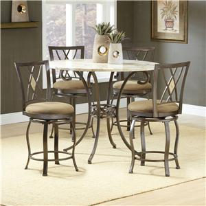 Hillsdale Brookside Five Piece Rectangle Dining Set with Caster Chairs