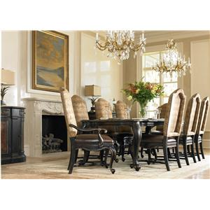 Hooker Furniture Grandover Nine-Piece Rectangular Cabriole Leg Table with Leather & Fabric Upholstered Chairs Set