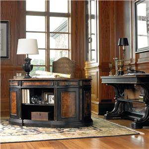 Hooker Furniture Grandover Kidney-Shaped Double Pedestal Desk with Leather Writing Surface & Ample Storage