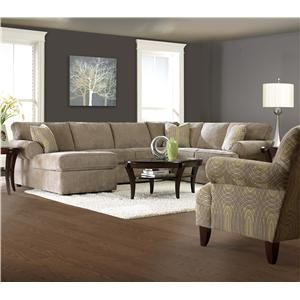 Simple Elegance Julington Transitional Sectional Sofa With Rolled Arms And Right Chaise