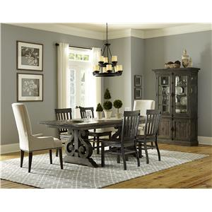 Magnussen Home Bellamy Transitional Double Pedestal Dining Table with Two Butterfly Extension Leaves