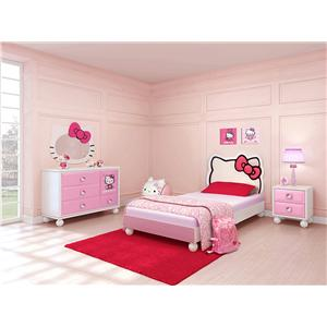 Najarian Hello Kitty Youth Bedroom Hello Kitty Theme Twin Size Bed with Upholstered Headboard