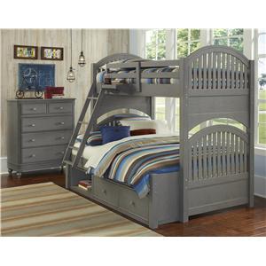NE Kids Lake House Twin Over Full Storage Bunk Bed