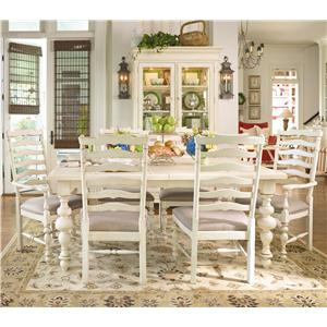 Paula Deen by Universal Paula Deen Home Paula's Leg Table w/ 2 Ladder Back Dining Arm Chairs & 4 Dining Side Chairs