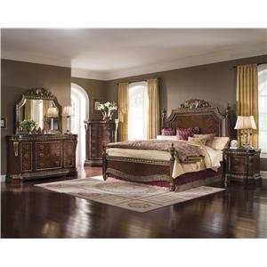 Pulaski Furniture Del Corto California King Traditional Poster Bed with Gold-Toned Trim and Decorative Veneer