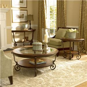 Riverside Furniture Fortunado Round Glass Top Lamp Table