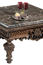 Intricate Carved Wood Details and Inlaid Stone Tops with Deep Profiles