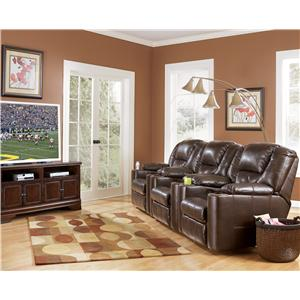 Signature Design by Ashley Paramount DuraBlend® - Brindle Power 3-Piece Reclining Home Theater Group with Cup Holders