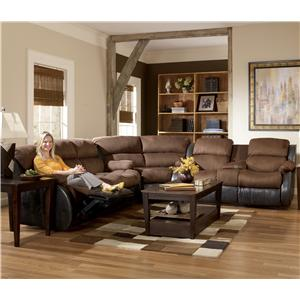 Signature Design By Ashley Presley Espresso Contemporary Upholstered Motion Sectional