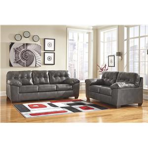 Signature Design By Ashley Alliston Durablend Gray Right Facing Sectional W Tufting
