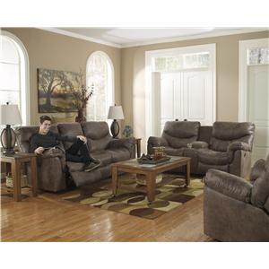Ashley (Signature Design) Alzena - Gunsmoke Reclining Living Room Group