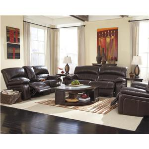 Ashley (Signature Design) Damacio - Dark Brown Reclining Living Room Group