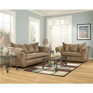 Signature Design by Ashley York Mocha Contemporary Sectional Sofa with Sweeping Pillow Arms