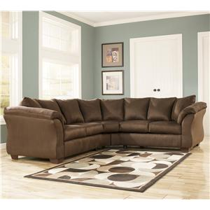 Signature Design by Ashley Darcy - Cafe Contemporary Stationary Loveseat with Flared Back Pillows