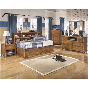 Signature Design By Ashley Delburne Full Bookcase Bed With Footboard Storage Regency Furniture