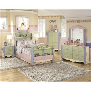 Signature Design by Ashley Doll House Loft Bed with Bin Storage & Space for Basket