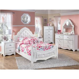 Signature Design by Ashley Exquisite Full Ornate Poster Bed with Tufted Headboard & Footboard