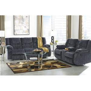 Ashley (Signature Design) Garek - Blue Reclining Living Room Group