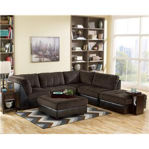 Signature Design By Ashley Hobokin Chocolate Contemporary 5 Piece Sectional With Raf Ottoman