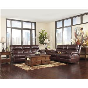 Signature Design by Ashley Lensar - Burgundy Reclining Living Room Group