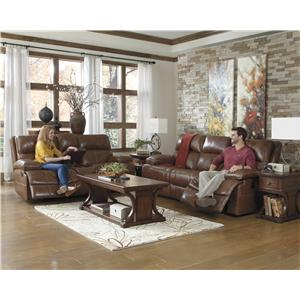 Signature Design by Ashley Furniture Lensar - Nutmeg Casual Reclining Power Sofa w/ Pillow Arms
