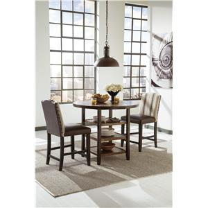 Signature Design By Ashley Keller 3 Piece Counter Table Set With Beige Wing Back Barstools