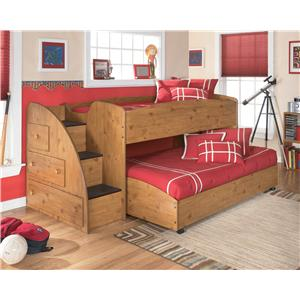 Signature Design by Ashley Stages Twin Loft Bed with Right Steps & Chest Storage