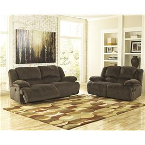Ashley (Signature Design) Toletta - Chocolate Reclining Living Room Group
