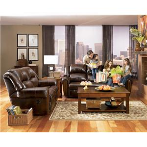 Signature Design by Ashley Furniture Woodsdale DuraBlend® - Antique Reclining Sofa with Divided Back