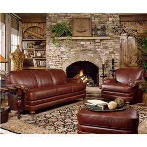 Smith Brothers 346 Traditional Styled Chair and Ottoman Set