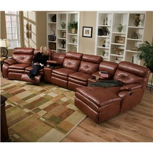 Southern Motion Jitterbug Four Seat Sectional with Left Facing Chaise and Cupholder Consoles