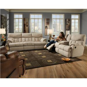 Southern Motion Re-Fueler  Comfortable Console Sofa with Two Cup-Holders and Storage Console